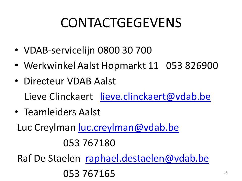 CONTACTGEGEVENS VDAB-servicelijn 0800 30 700