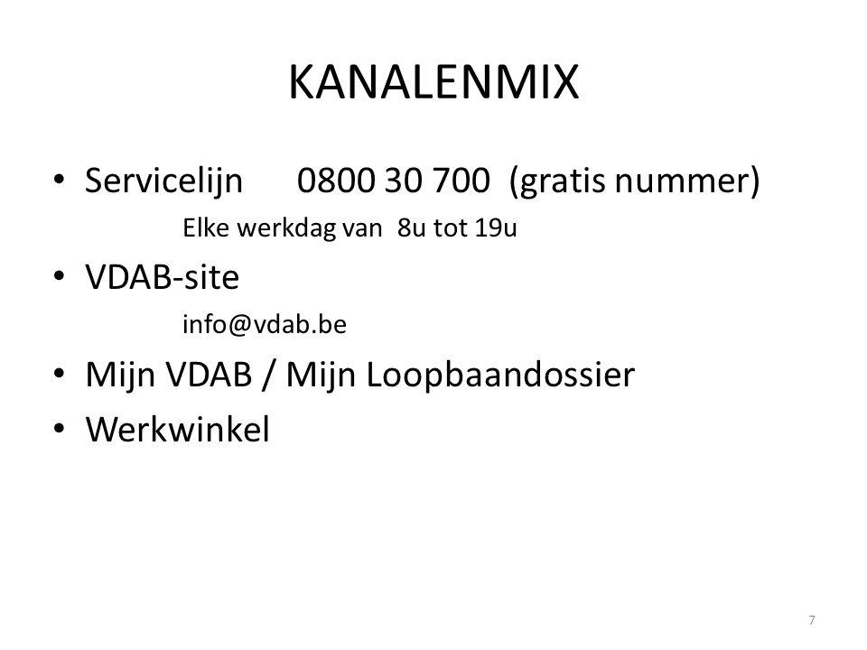 KANALENMIX Servicelijn 0800 30 700 (gratis nummer) VDAB-site