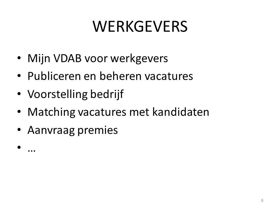 WERKGEVERS Mijn VDAB voor werkgevers Publiceren en beheren vacatures