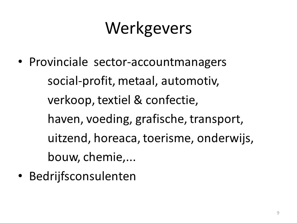 Werkgevers Provinciale sector-accountmanagers