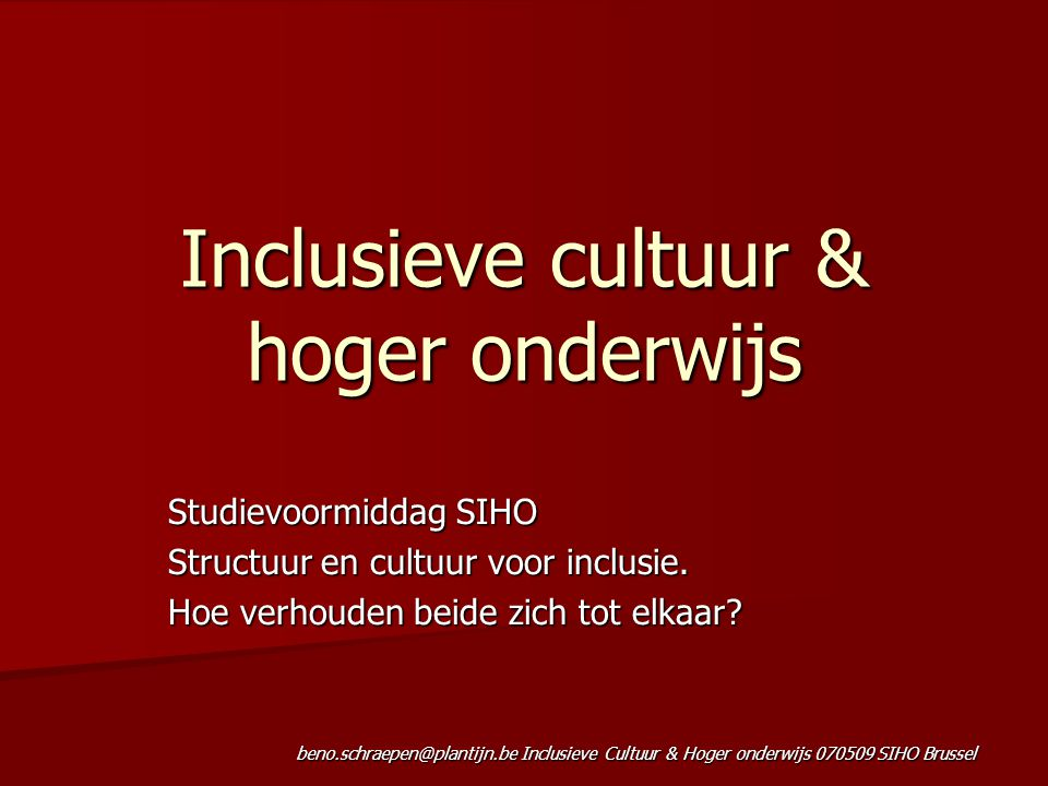 Inclusieve cultuur & hoger onderwijs