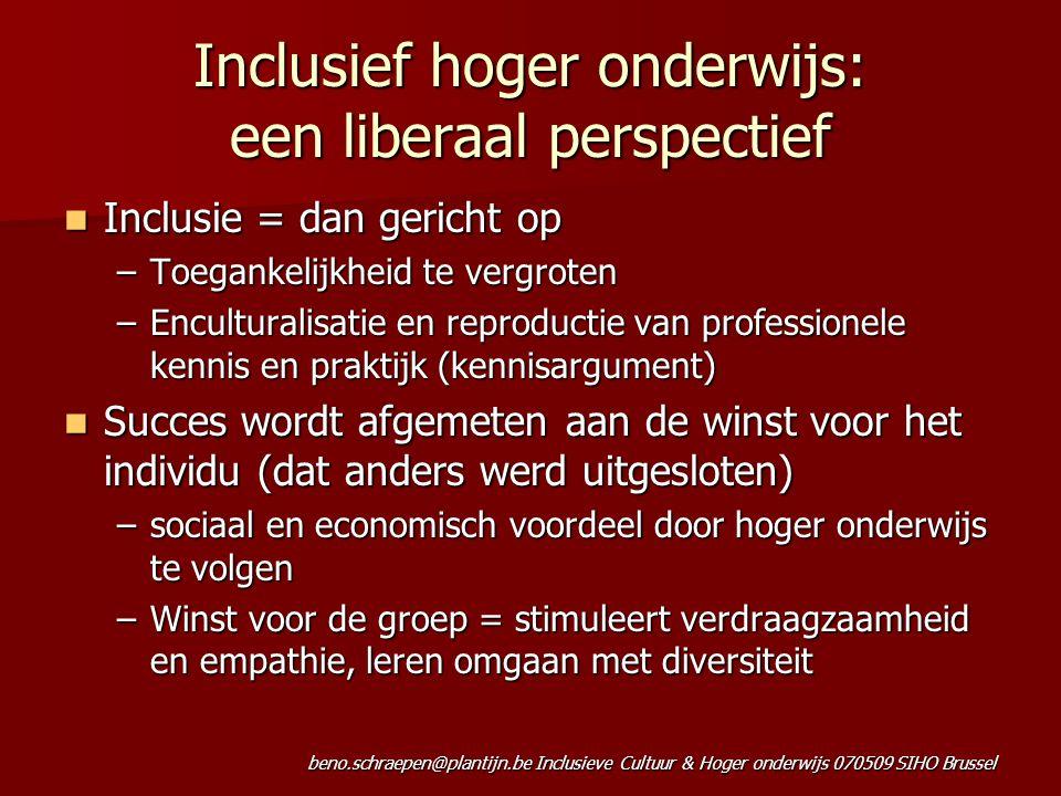 Inclusief hoger onderwijs: een liberaal perspectief