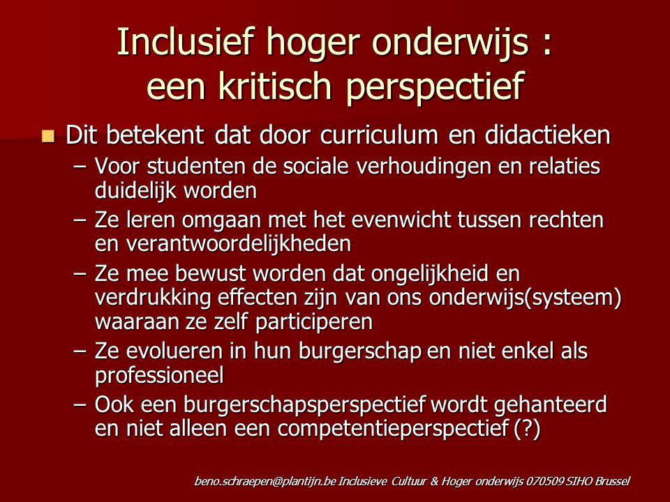 Inclusief hoger onderwijs : een kritisch perspectief