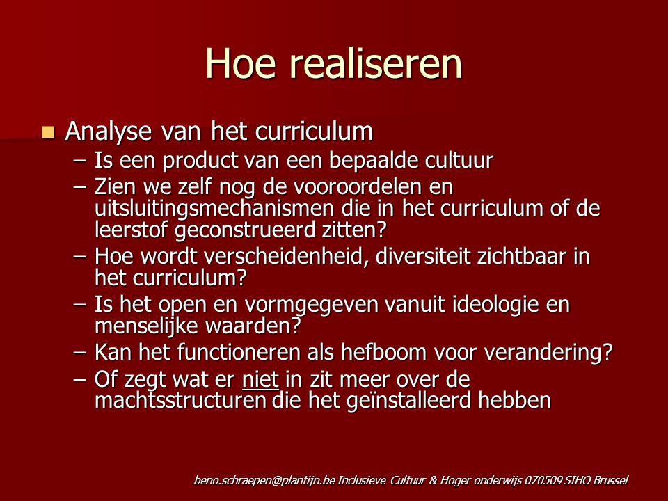 Hoe realiseren Analyse van het curriculum