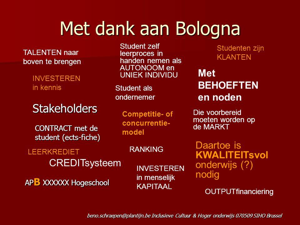 Met dank aan Bologna Stakeholders Met BEHOEFTEN en noden
