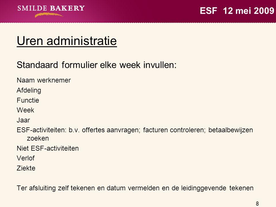 Uren administratie ESF 12 mei 2009