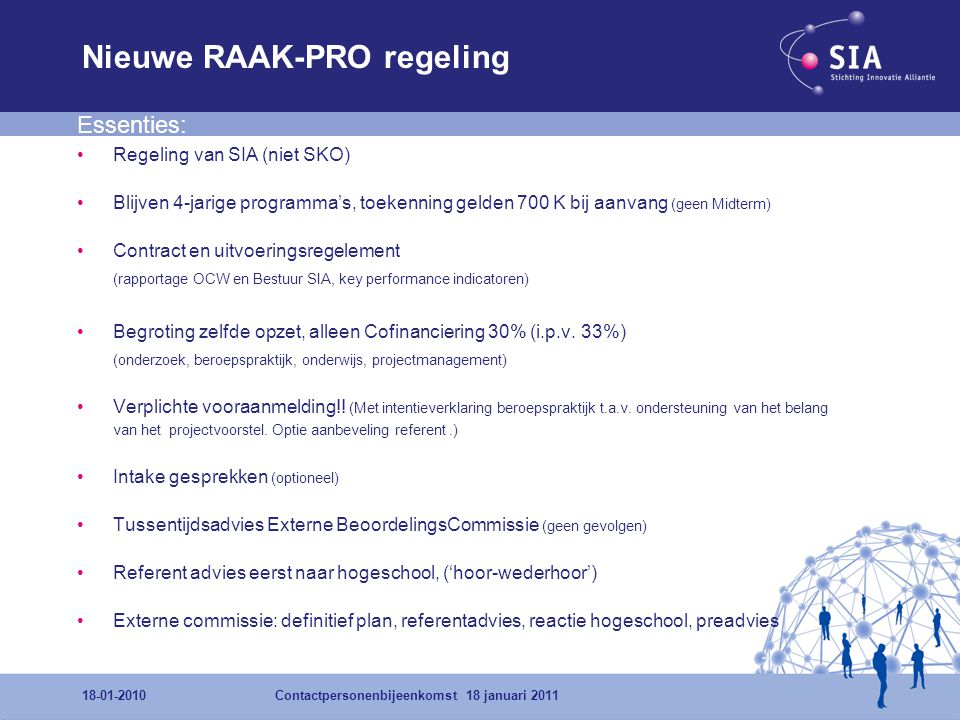 Nieuwe RAAK-PRO regeling