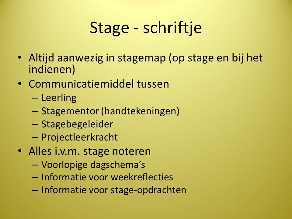 Stage - schriftje Altijd aanwezig in stagemap (op stage en bij het indienen) Communicatiemiddel tussen.