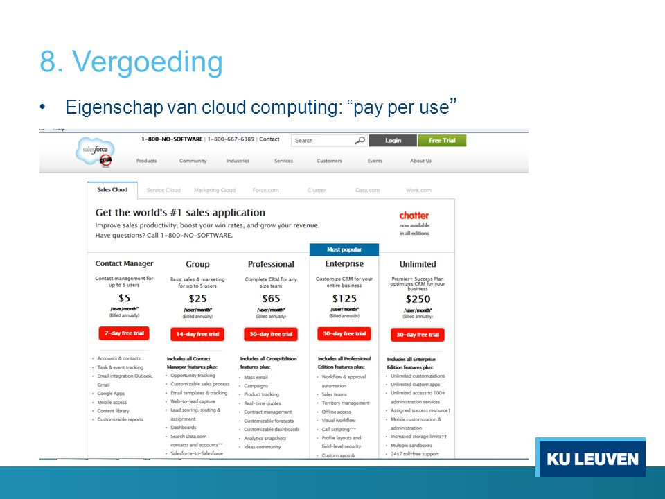 8. Vergoeding Eigenschap van cloud computing: pay per use