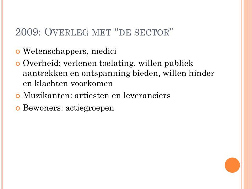 2009: Overleg met de sector