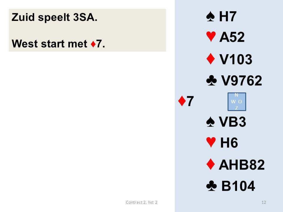 ♦ V103 ♦ AHB82 ♠ H7 ♥ A52 ♣ V9762 ♦7 ♠ VB3 ♥ H6 ♣ B104