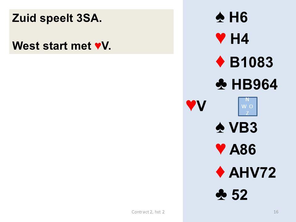 ♦ B1083 ♦ AHV72 ♠ H6 ♥ H4 ♣ HB964 ♥V ♠ VB3 ♥ A86 ♣ 52 Zuid speelt 3SA.