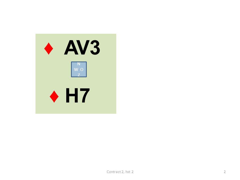 ♦ AV3 ♦ H7 N W O Z Contract 2, hst 2