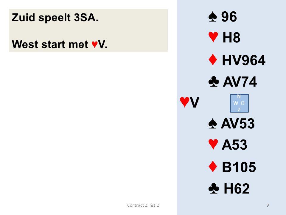 ♦ HV964 ♦ B105 ♠ 96 ♥ H8 ♣ AV74 ♥V ♠ AV53 ♥ A53 ♣ H62 Zuid speelt 3SA.