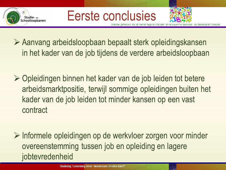 Eerste conclusies Aanvang arbeidsloopbaan bepaalt sterk opleidingskansen in het kader van de job tijdens de verdere arbeidsloopbaan.