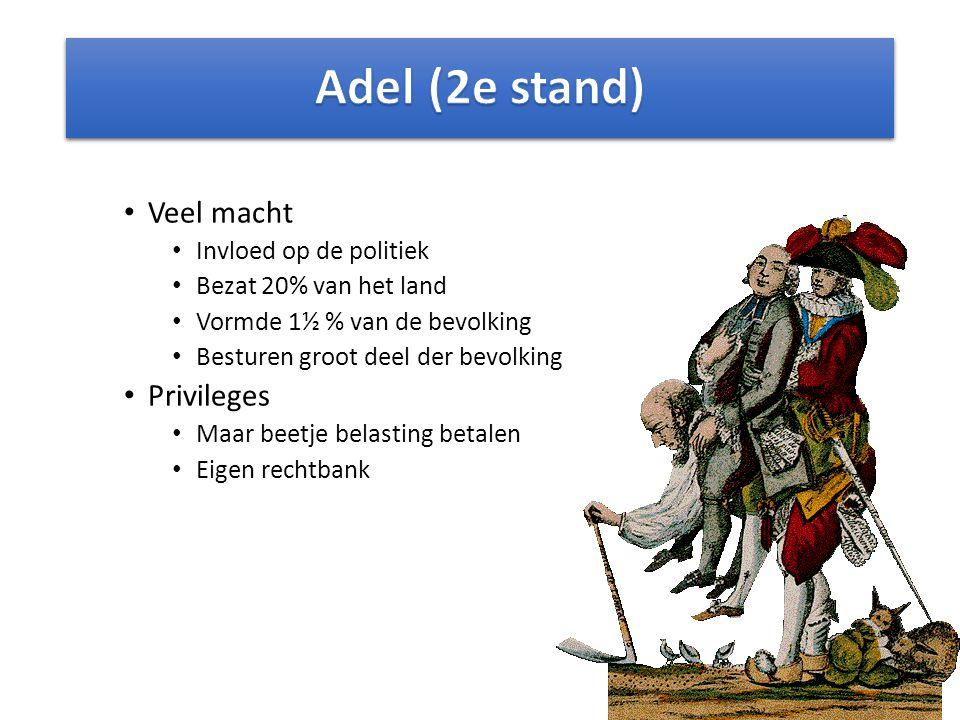 Adel (2e stand) Veel macht Privileges Invloed op de politiek