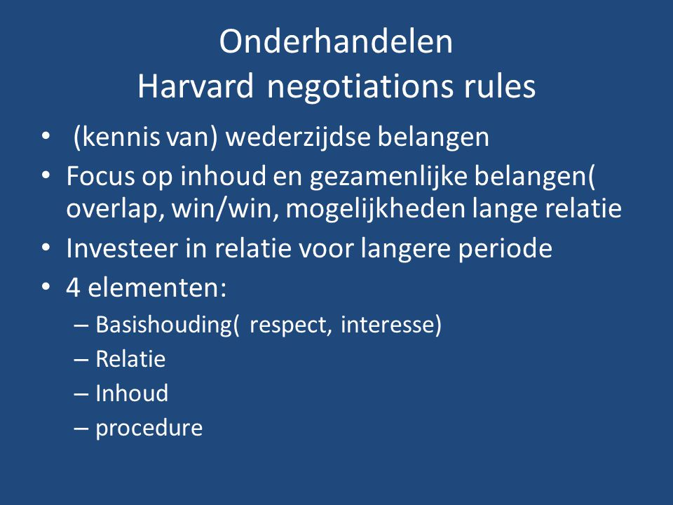 Onderhandelen Harvard negotiations rules