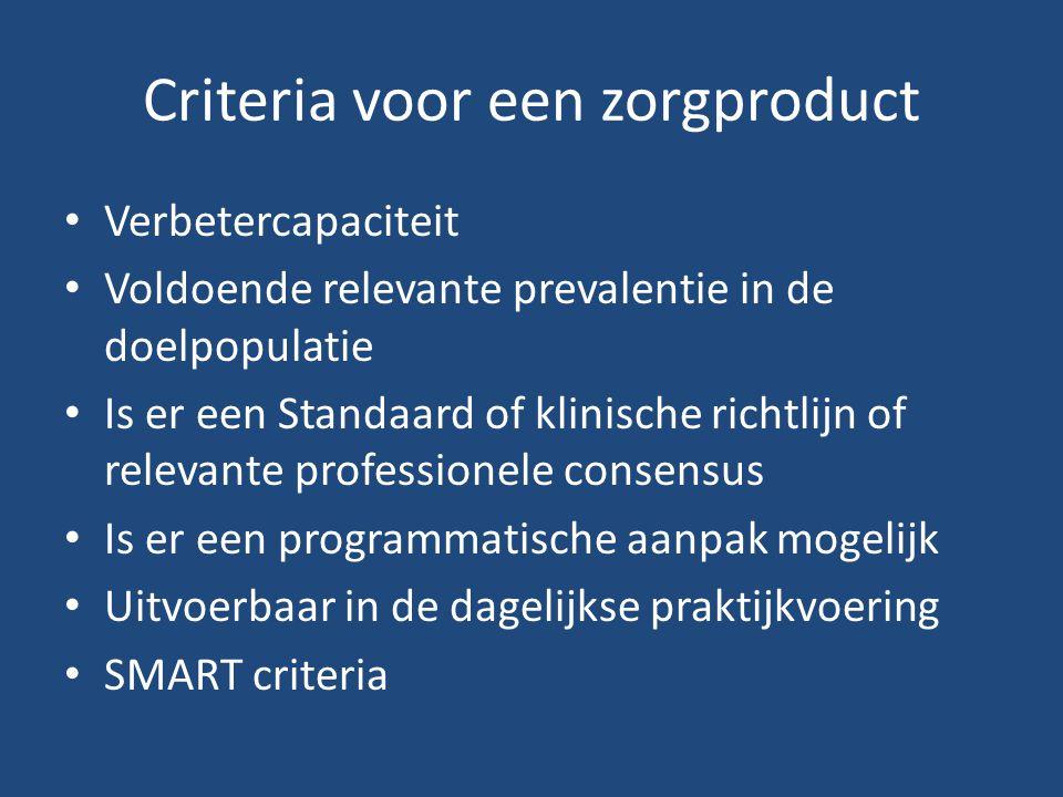 Criteria voor een zorgproduct
