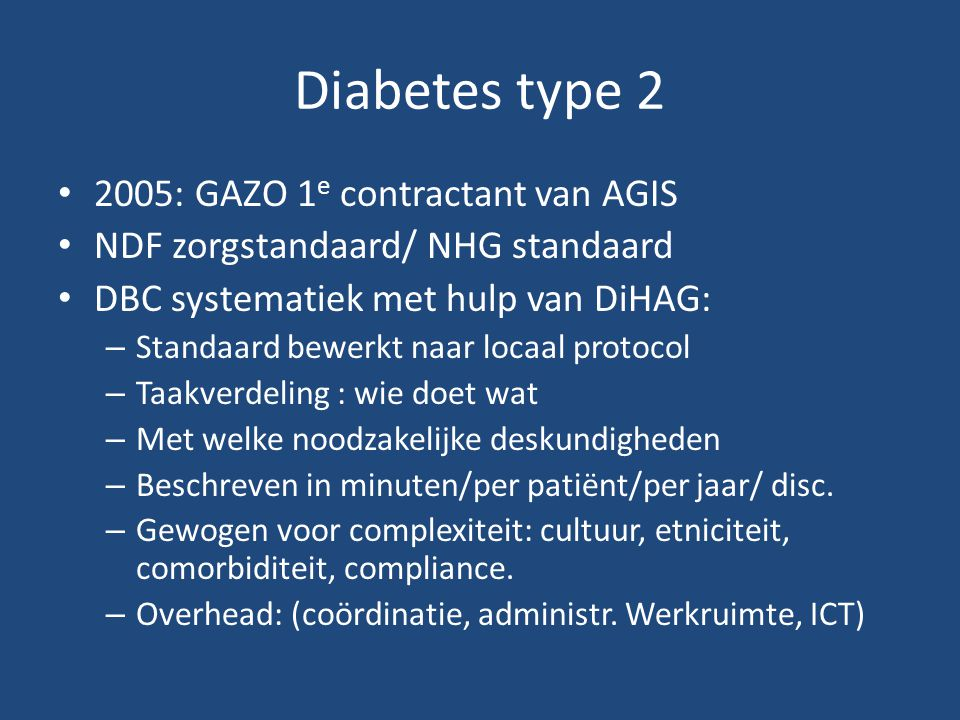 Diabetes type 2 2005: GAZO 1e contractant van AGIS