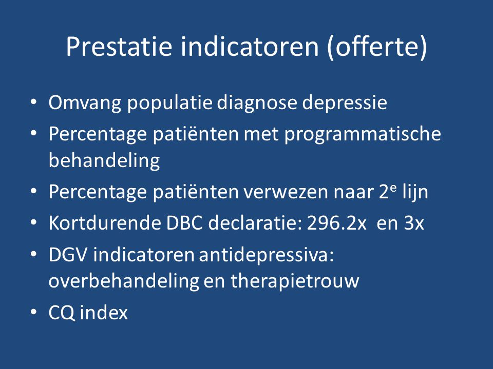 Prestatie indicatoren (offerte)