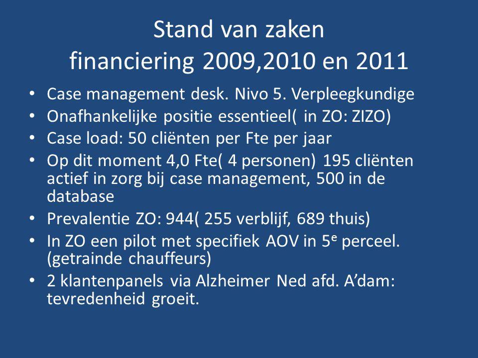 Stand van zaken financiering 2009,2010 en 2011