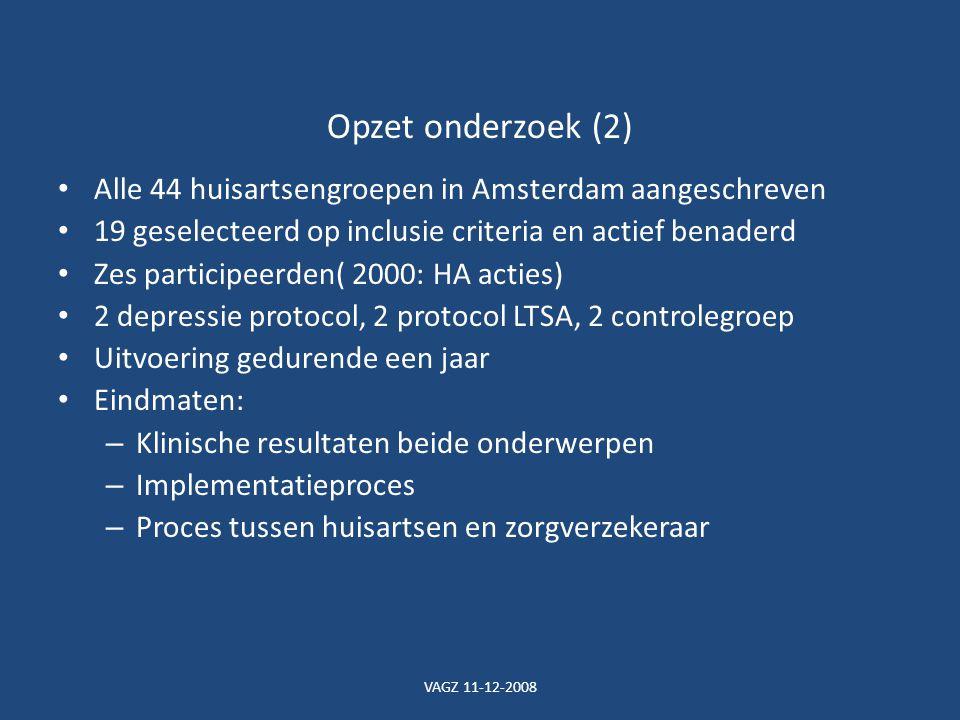 Opzet onderzoek (2) Alle 44 huisartsengroepen in Amsterdam aangeschreven. 19 geselecteerd op inclusie criteria en actief benaderd.