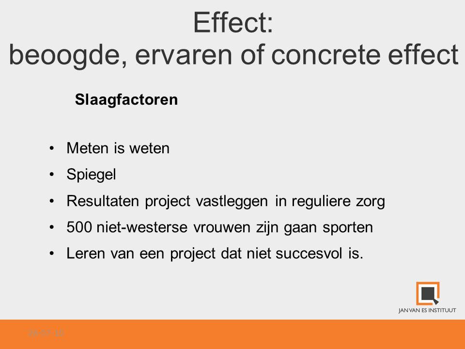 Effect: beoogde, ervaren of concrete effect
