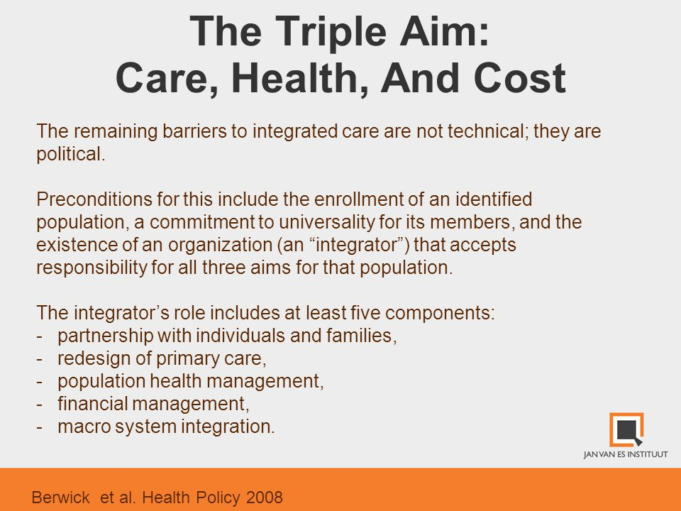 The Triple Aim: Care, Health, And Cost