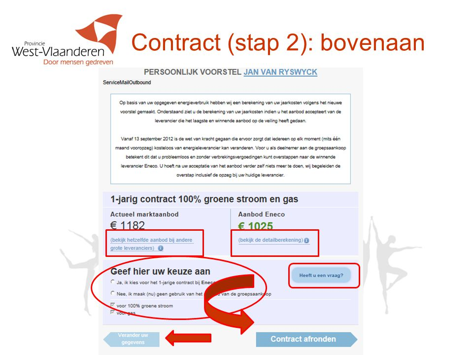 Contract (stap 2): bovenaan