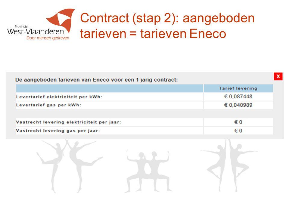 Contract (stap 2): aangeboden tarieven = tarieven Eneco