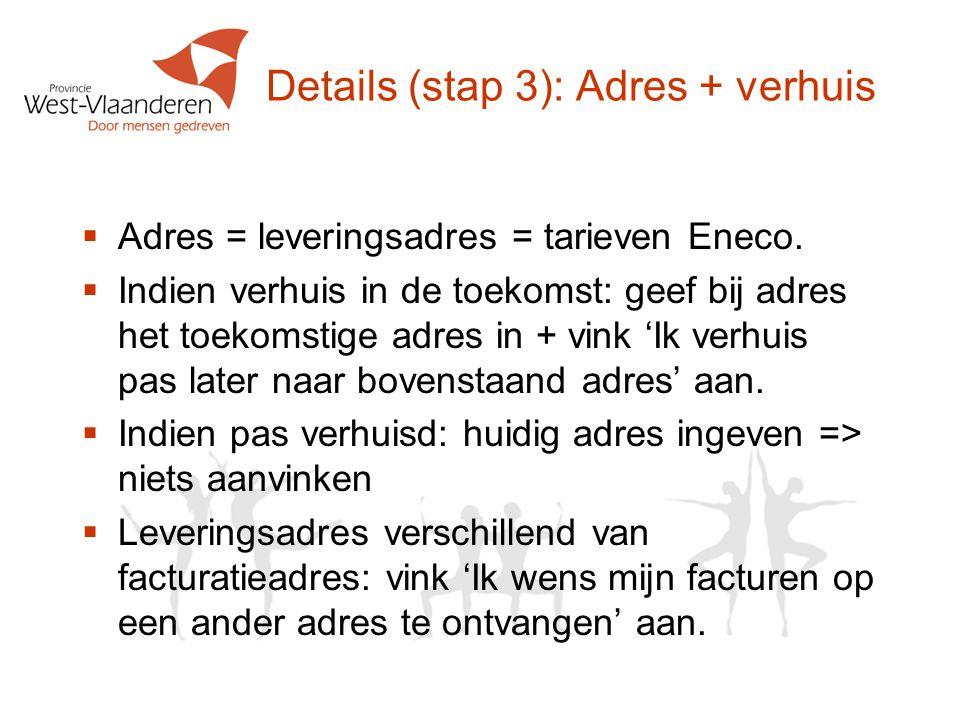 Details (stap 3): Adres + verhuis