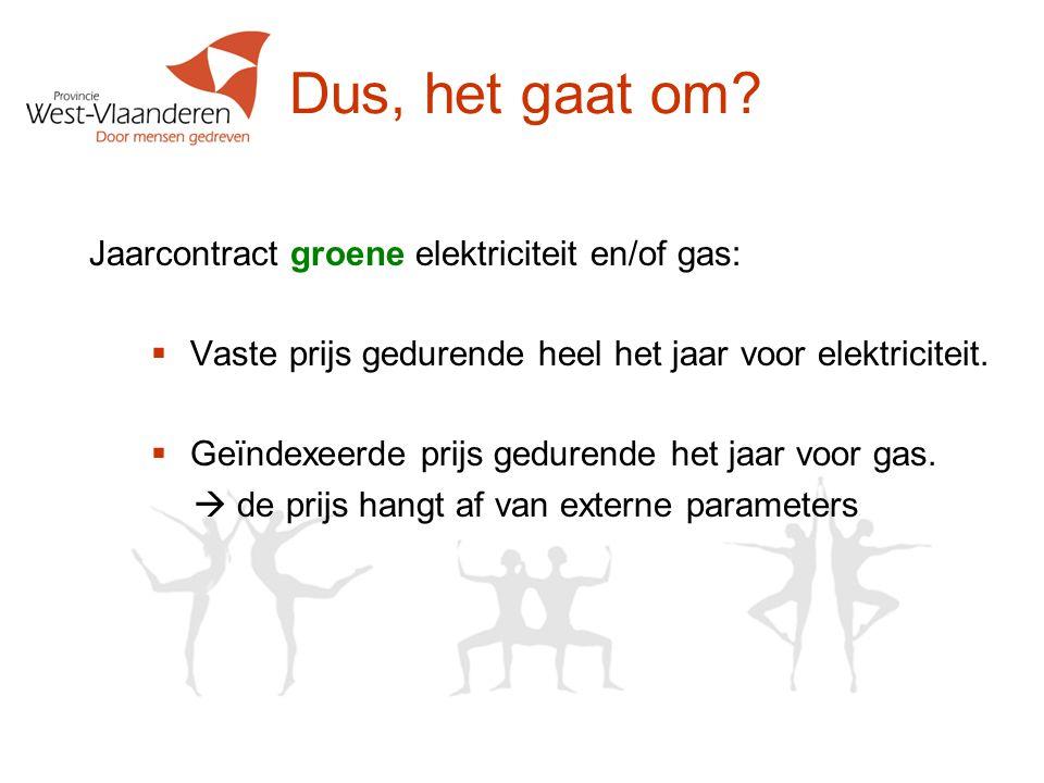 Dus, het gaat om Jaarcontract groene elektriciteit en/of gas: