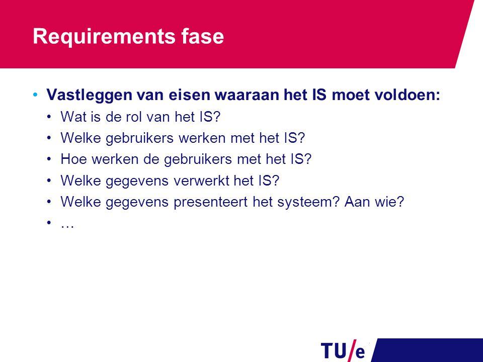 Requirements fase Vastleggen van eisen waaraan het IS moet voldoen: