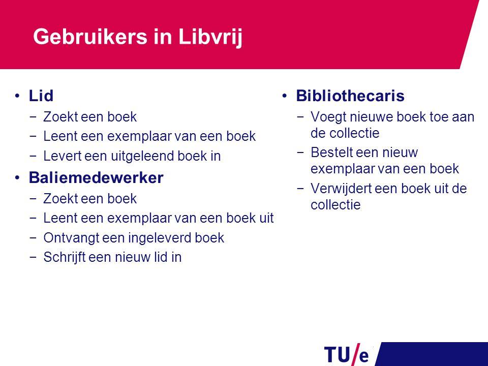 Gebruikers in Libvrij Lid Baliemedewerker Bibliothecaris