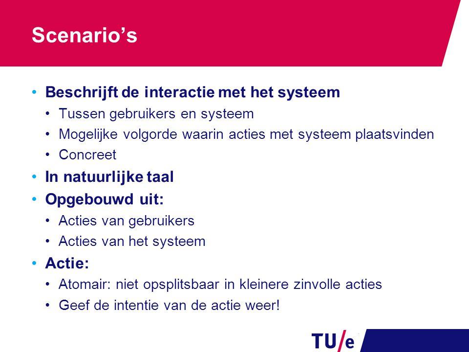 Scenario's Beschrijft de interactie met het systeem