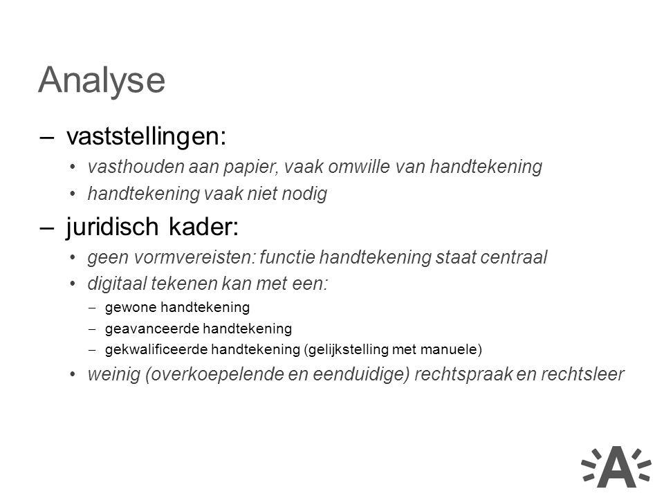 Analyse vaststellingen: juridisch kader: