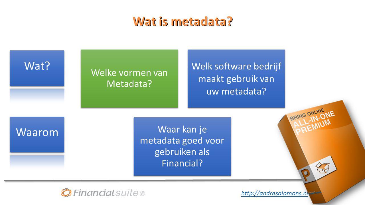 Wat is metadata Wat Waarom Welke vormen van Metadata