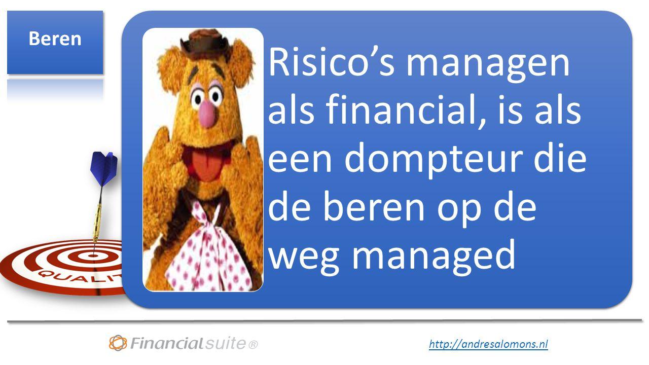 Beren Risico's managen als financial, is als een dompteur die de beren op de weg managed