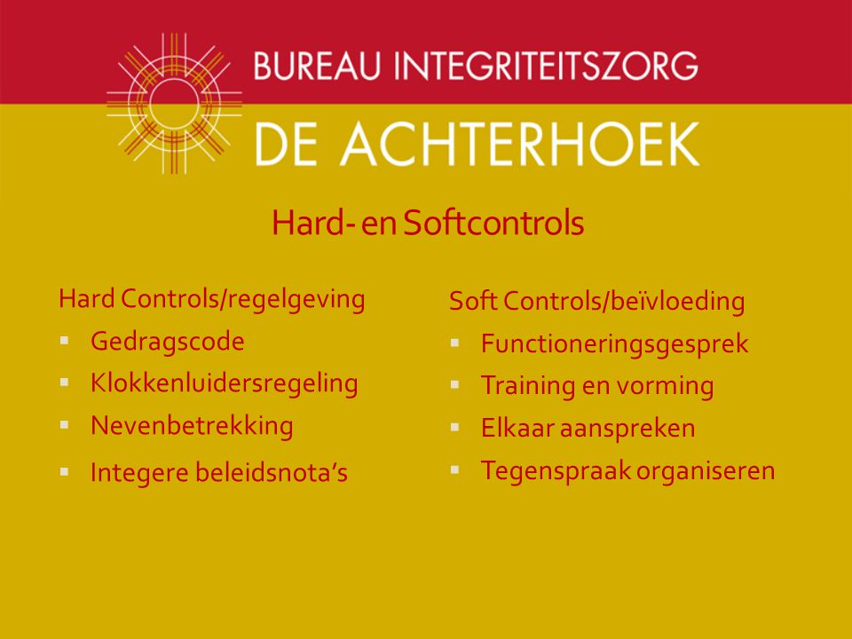 Hard- en Softcontrols Hard Controls/regelgeving