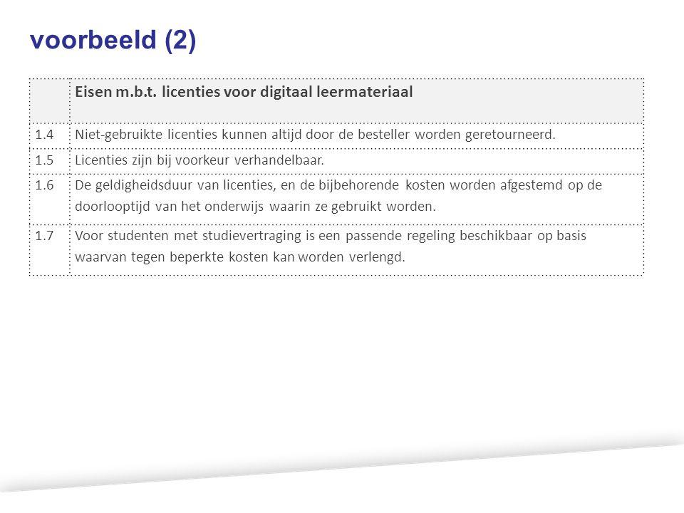 voorbeeld (2) Eisen m.b.t. licenties voor digitaal leermateriaal 1.4