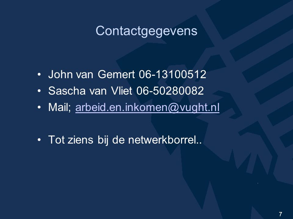 Contactgegevens John van Gemert 06-13100512