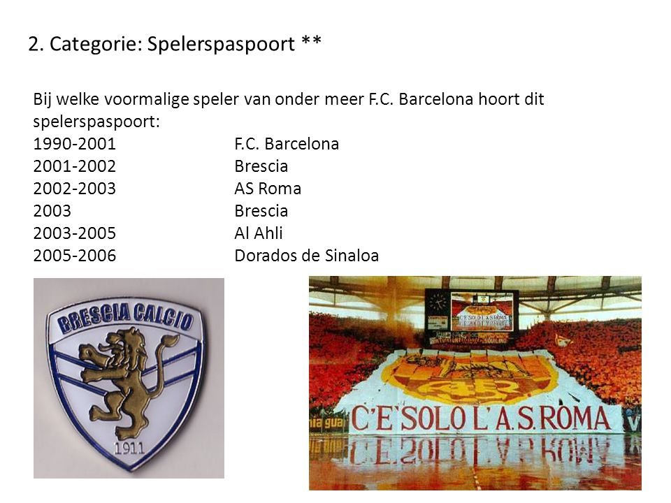 2. Categorie: Spelerspaspoort **