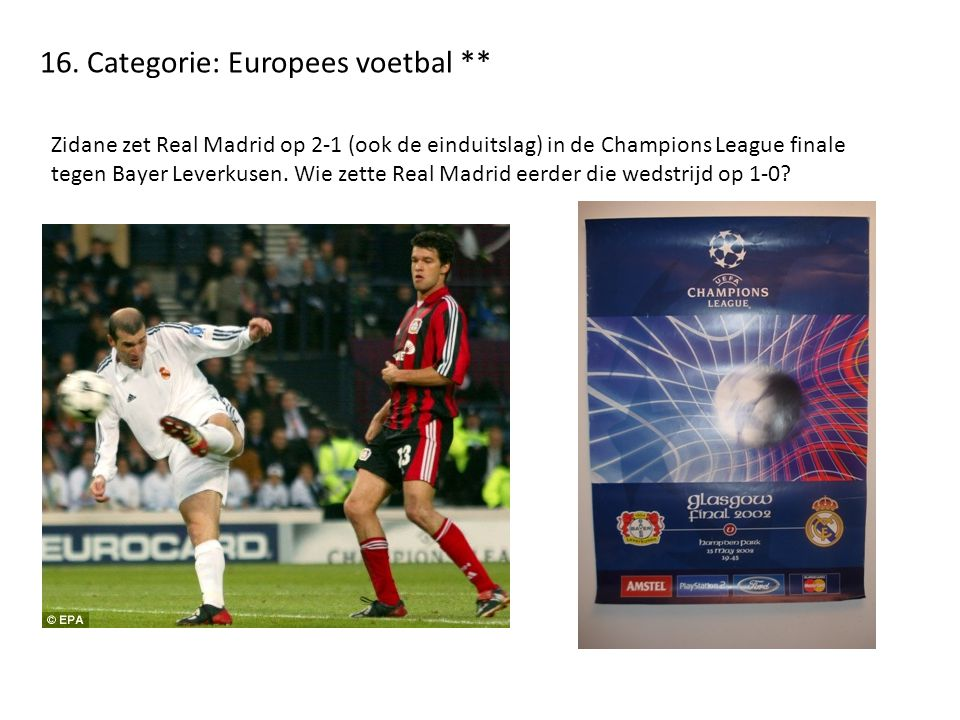 16. Categorie: Europees voetbal **