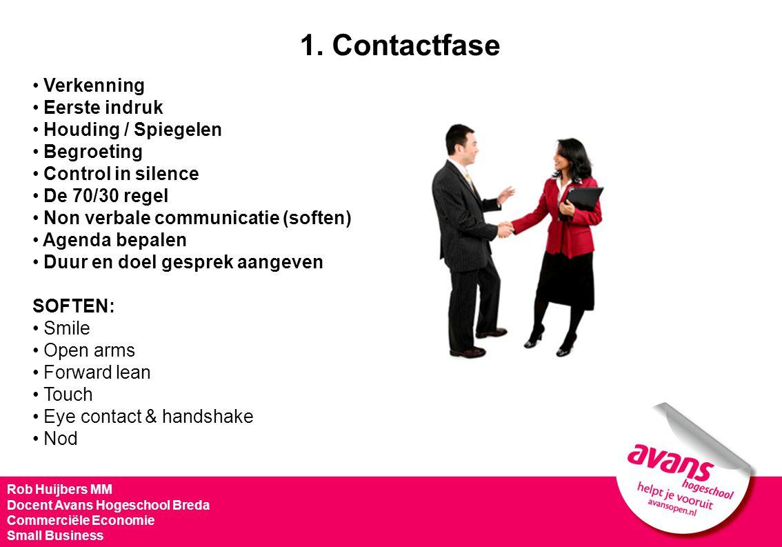1. Contactfase Verkenning Eerste indruk Houding / Spiegelen Begroeting