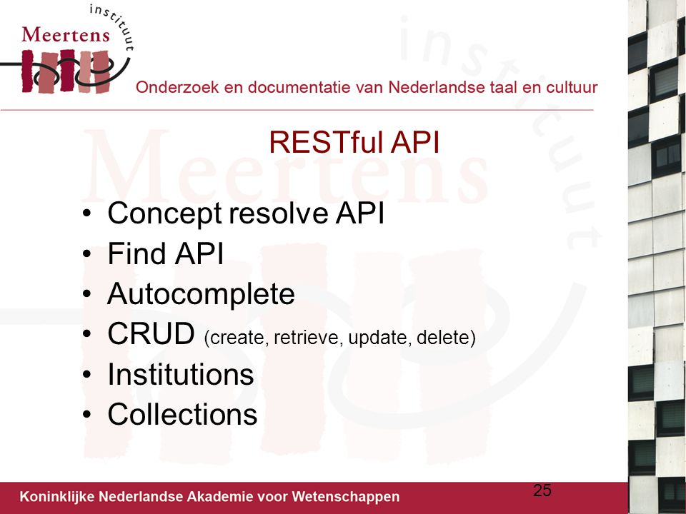 CRUD (create, retrieve, update, delete) Institutions Collections