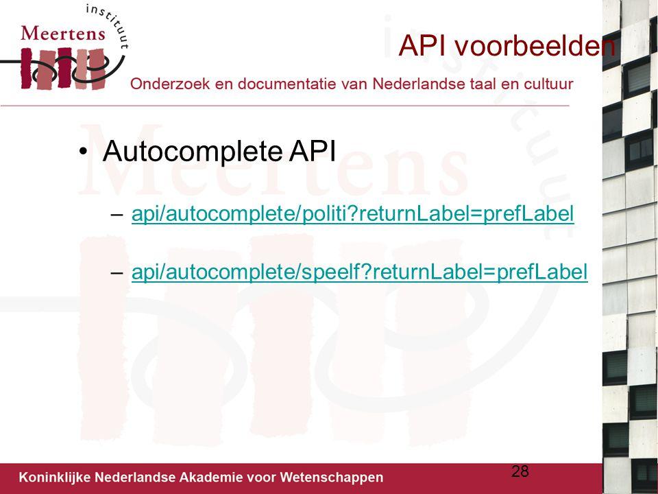 API voorbeelden Autocomplete API