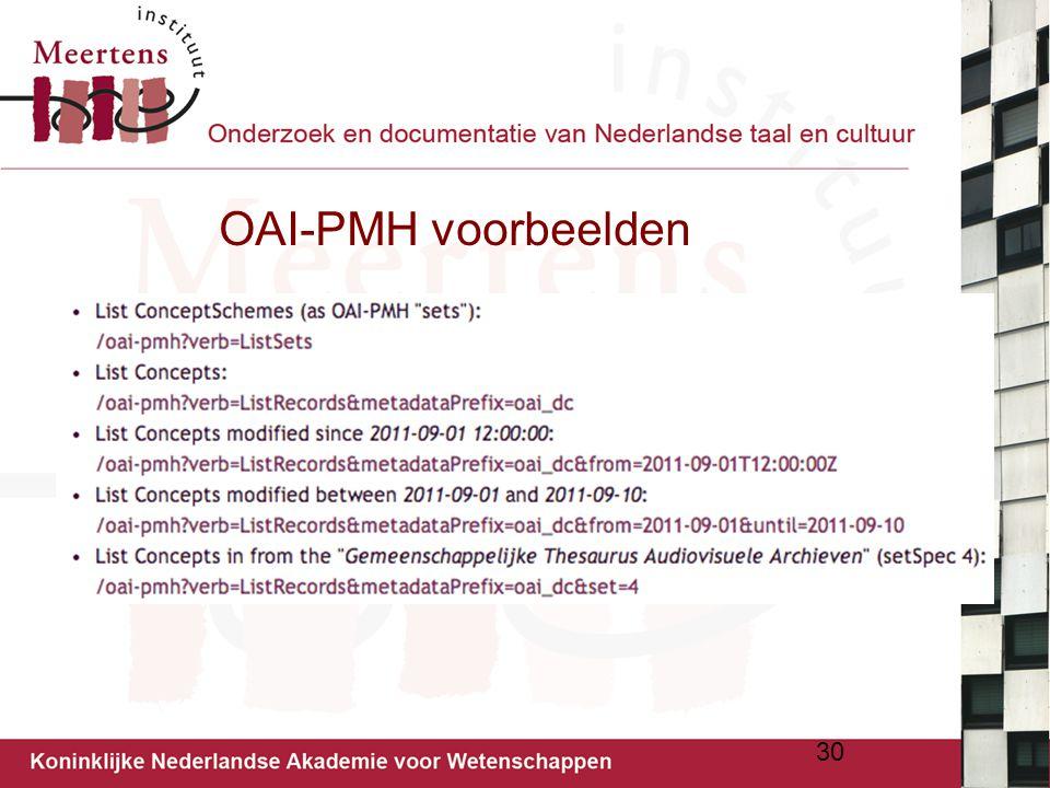OAI-PMH voorbeelden