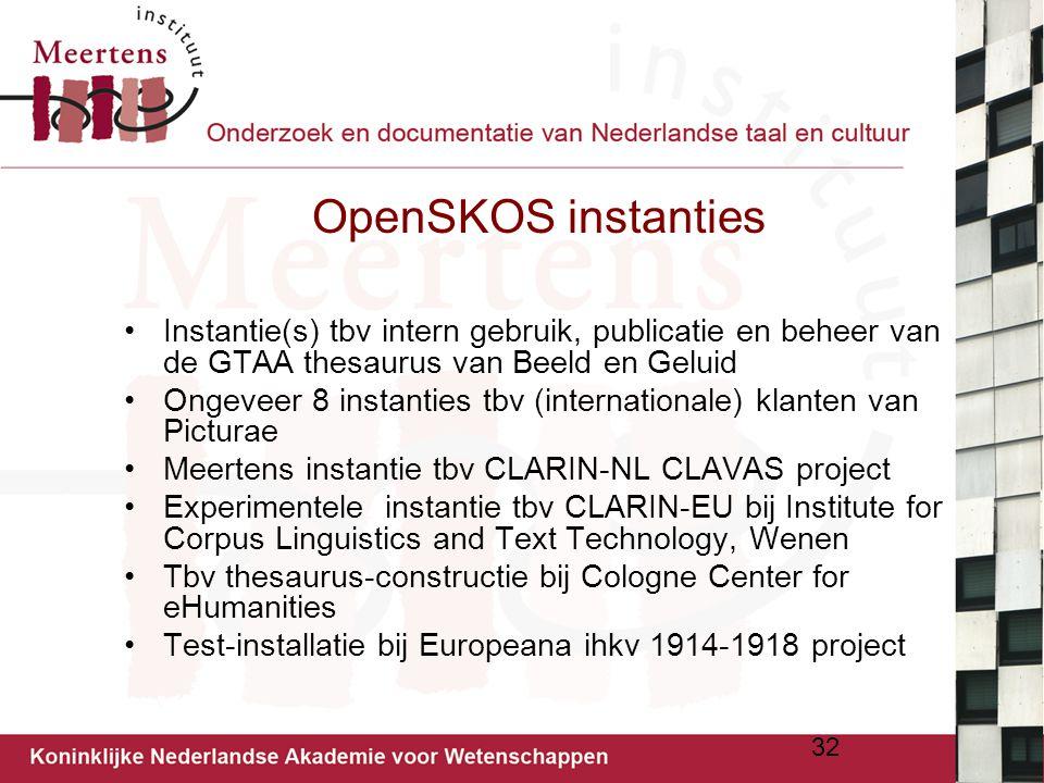 OpenSKOS instanties Instantie(s) tbv intern gebruik, publicatie en beheer van de GTAA thesaurus van Beeld en Geluid.