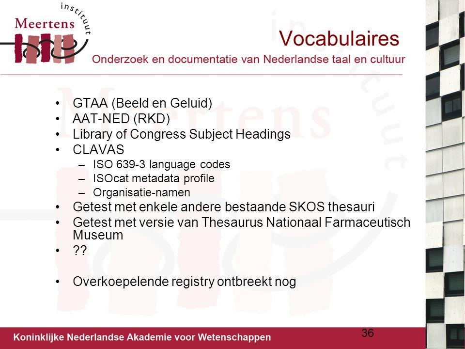 Vocabulaires GTAA (Beeld en Geluid) AAT-NED (RKD)