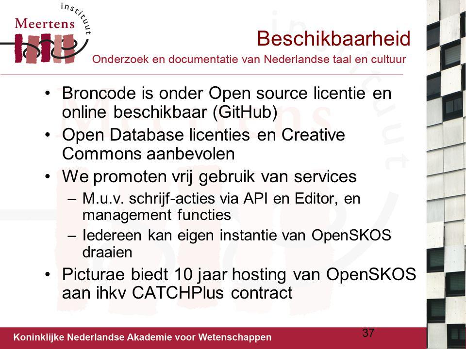 Beschikbaarheid Broncode is onder Open source licentie en online beschikbaar (GitHub) Open Database licenties en Creative Commons aanbevolen.